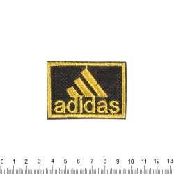 аппликация ADIDAS черно-желтая, вышивка, 4х6см