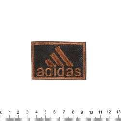 аппликация ADIDAS черно-коричневая, вышивка, 4х6см