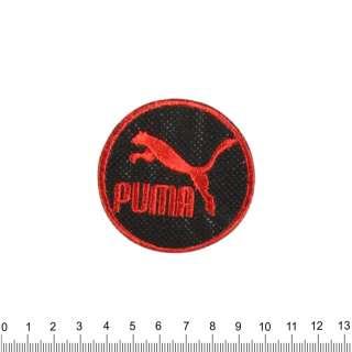 аппликация PUMA круглая черно-красная, вышивка, 6х6см