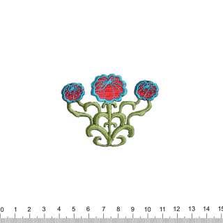 Аппликация 3 цветка, вышивка, 5,5х7см