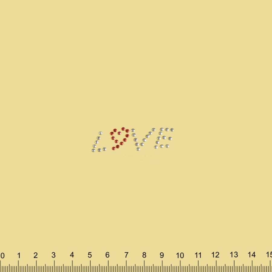 Термоапликация стразы металл LOVE 20х40мм серребристо-красная