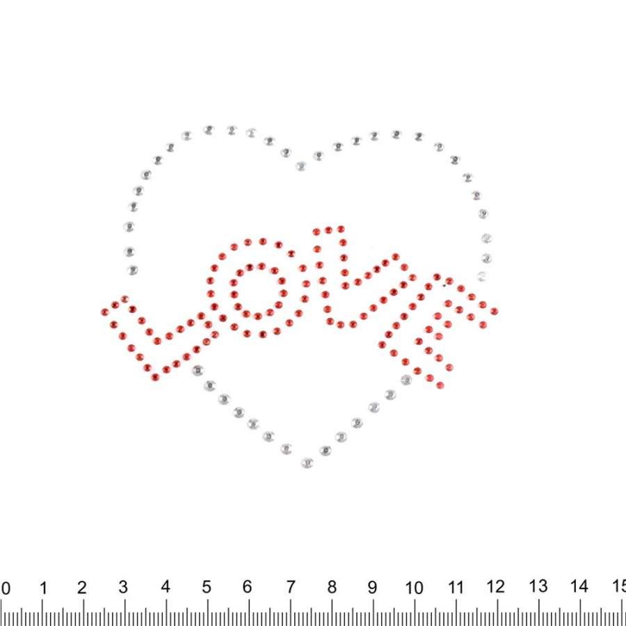 Термоапликация стразы металл Сердце LOVE 90х100мм серебристо-красная