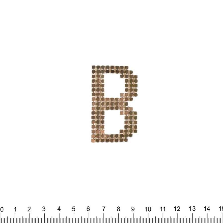 Термоапликация стразы металл Буква В 30х50мм золотистая
