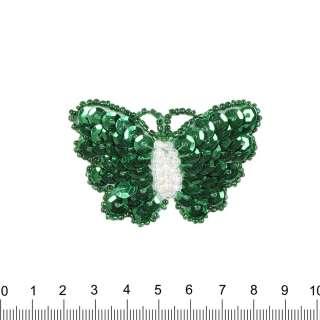Нашивка з паєтками Метелик 40х60мм зелена