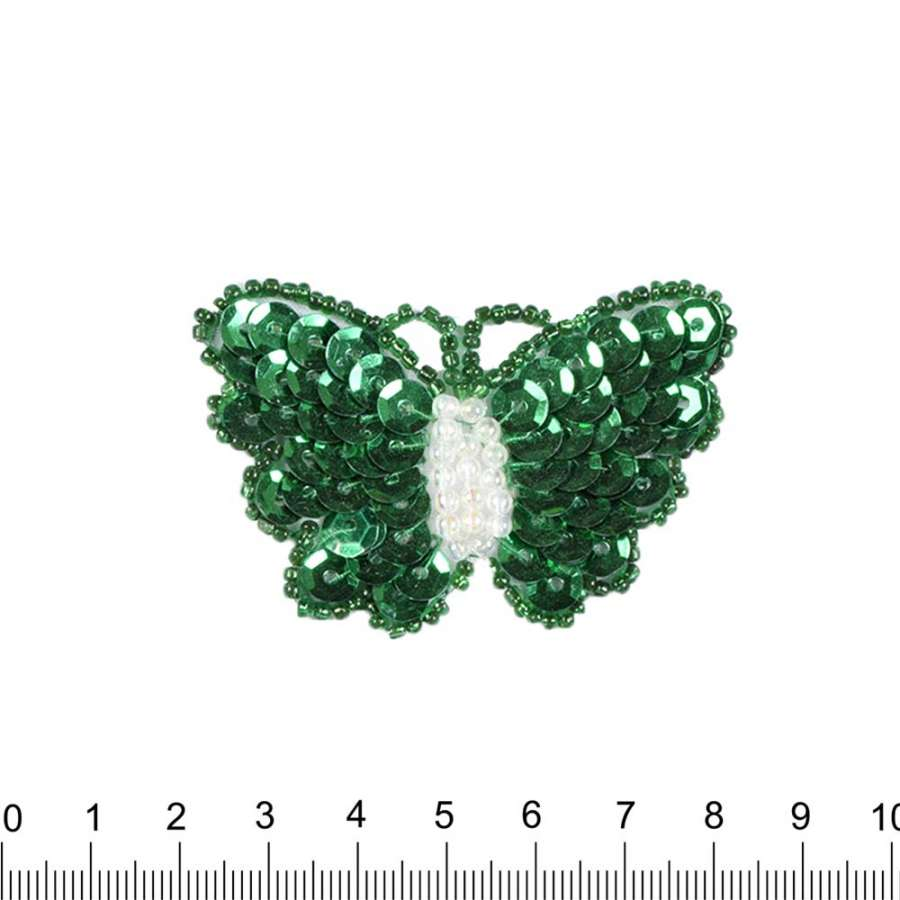 Нашивка с пайетками Бабочка 40х60мм зеленая