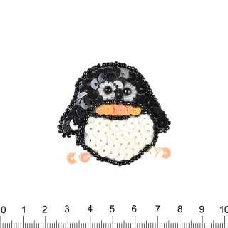 Нашивка з паєтками Пінгвін 50х50мм