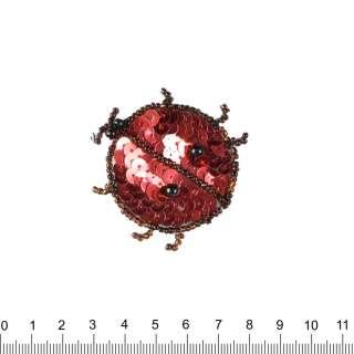 Нашивка з паєтками Божа корівка 50х50мм червоно-чорна