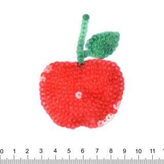 Нашивка з паєтками Яблуко 60х80мм червоне
