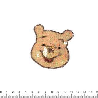 Нашивка з паєтками Вінні-Пух 70х70мм