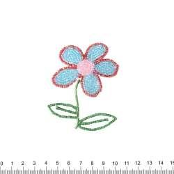 Нашивка с бисером Цветок 50х90мм красно-голубой