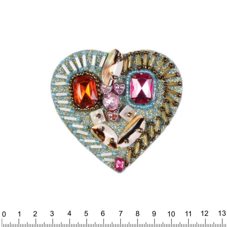 Термоаппликация с бисером, стразами, ракушками Сердце 80х80мм