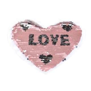 Нашивка Пайетки сердце LOVE 210х180мм серебро/фрез