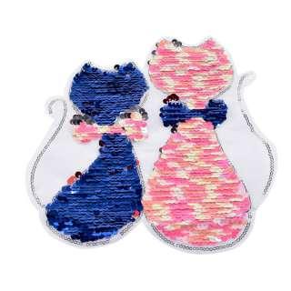Нашивка Пайєтки два кота 210х230мм синьо-рожеві