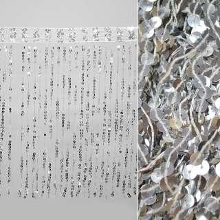 бахрома с пайетками, серебро ш.43см.