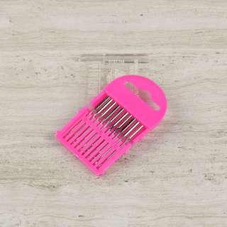 Иглы универсальные набор (10 игл) для швейных бытовых машин (розовая)