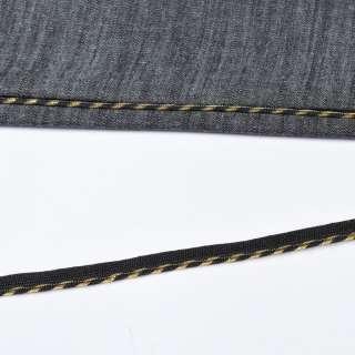Кант встрочний золотистий на чорній основі, ш.10 мм