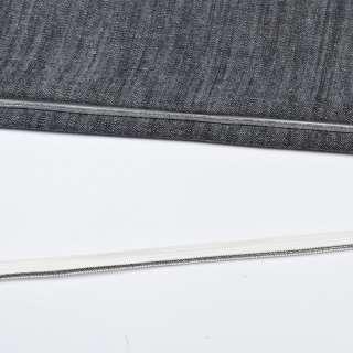 Кант встрочний сріблястий на білій основі, ш.10 мм