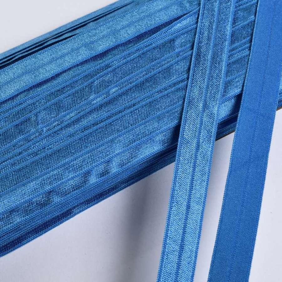 косая бейка стрейч синяя 15 мм