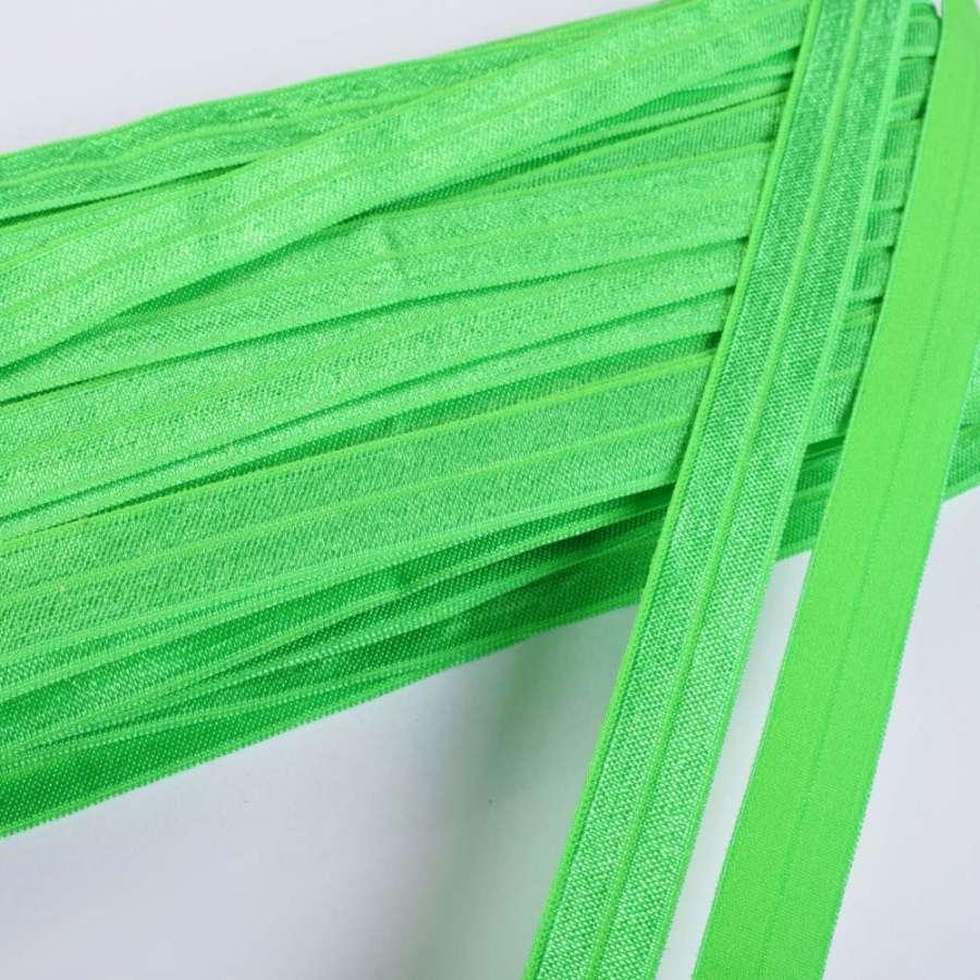 косая бейка стрейч зеленая 15 мм