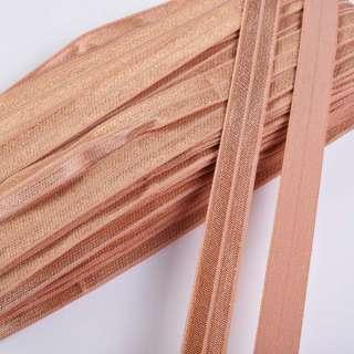 косая бейка стрейч розово-коричневая 15 мм