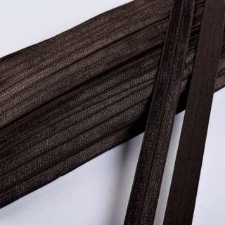 косая бейка стрейч темно-коричневая 15 мм