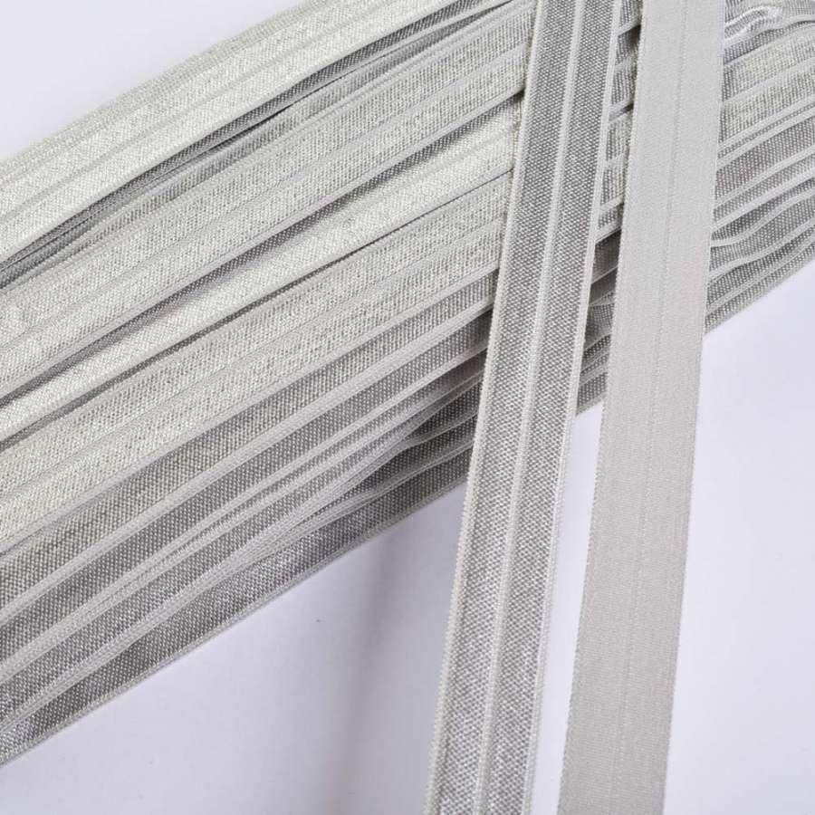 косая бейка стрейч светло-серая 15 мм