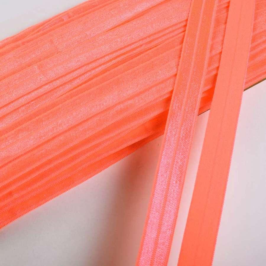 косая бейка стрейч ярко-оранжевая 15мм