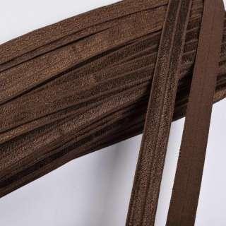 Косая бейка стрейч 15 мм коричневая