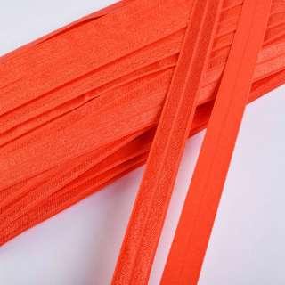 Косая бейка стрейч 15 мм оранжевая темная