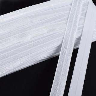 Косая бейка стрейч 15 мм белая