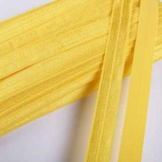 Косая бейка стрейч 15 мм желтая светлая