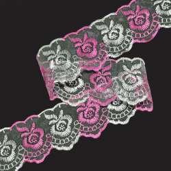 Кружево капрон двухцветное 40мм розово-белое