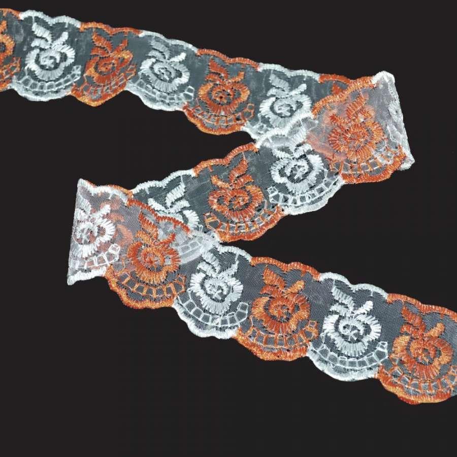 Кружево капрон двухцветное 40мм персиково-белое