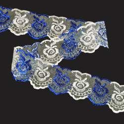 Кружево капрон двухцветное 40мм сине-белое