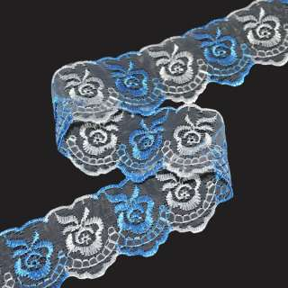 кружево двухцветное бело-голубое п/э 4,0см
