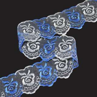кружево двухцветное белое+св/синее п/э 4,0см