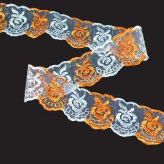 Кружево капрон двухцветное 40мм оранжево-белое