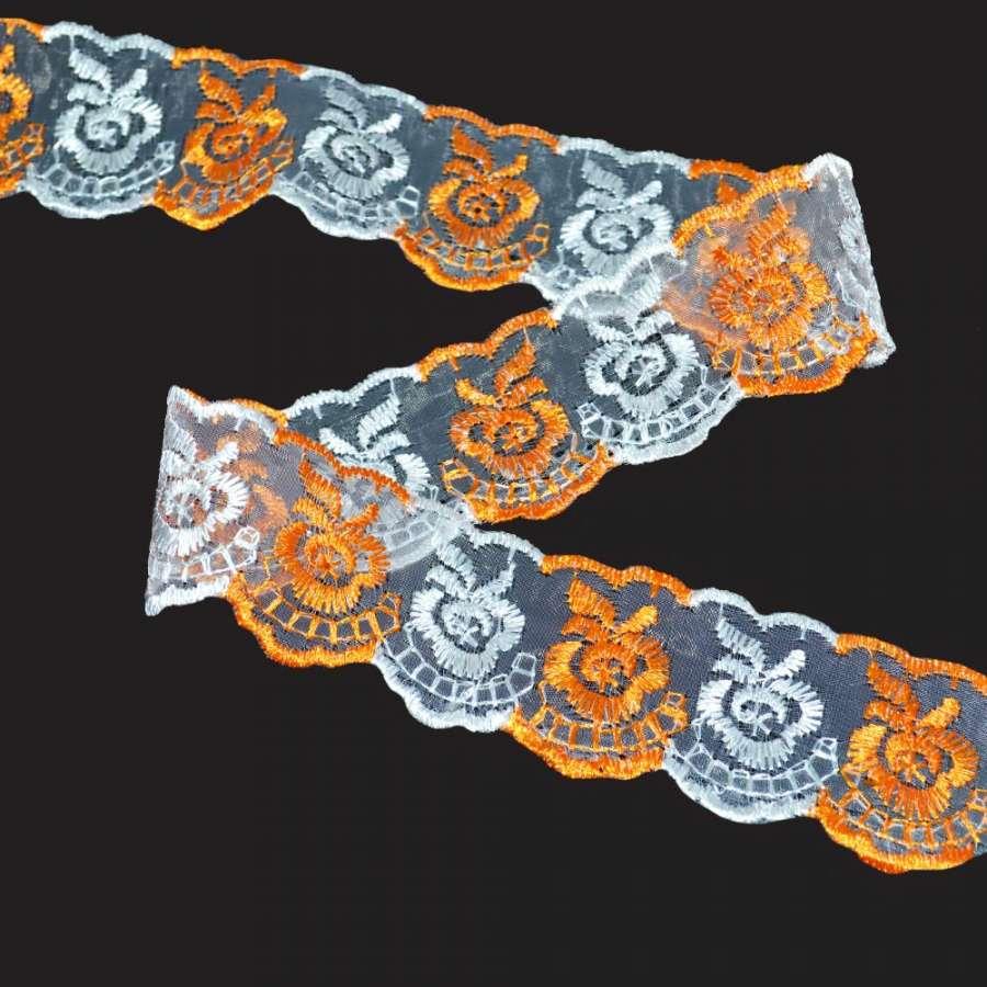 кружево двухцветное оранжево-белое п/э 4,0см