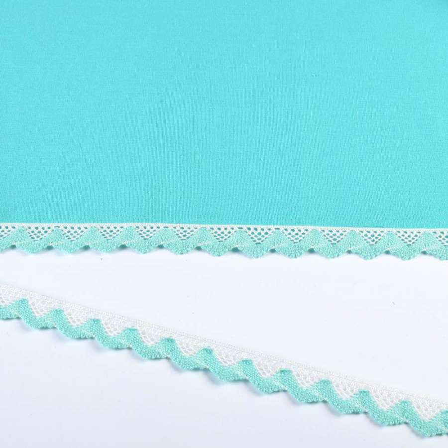Кружево хлопок зигзаг 20мм бело-бирюзовое