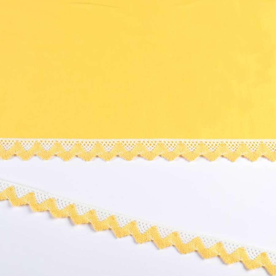 Кружево хлопок зигзаг 20мм бело-желтое