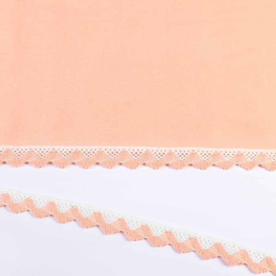 кружево х/б бело-персиковое 20мм