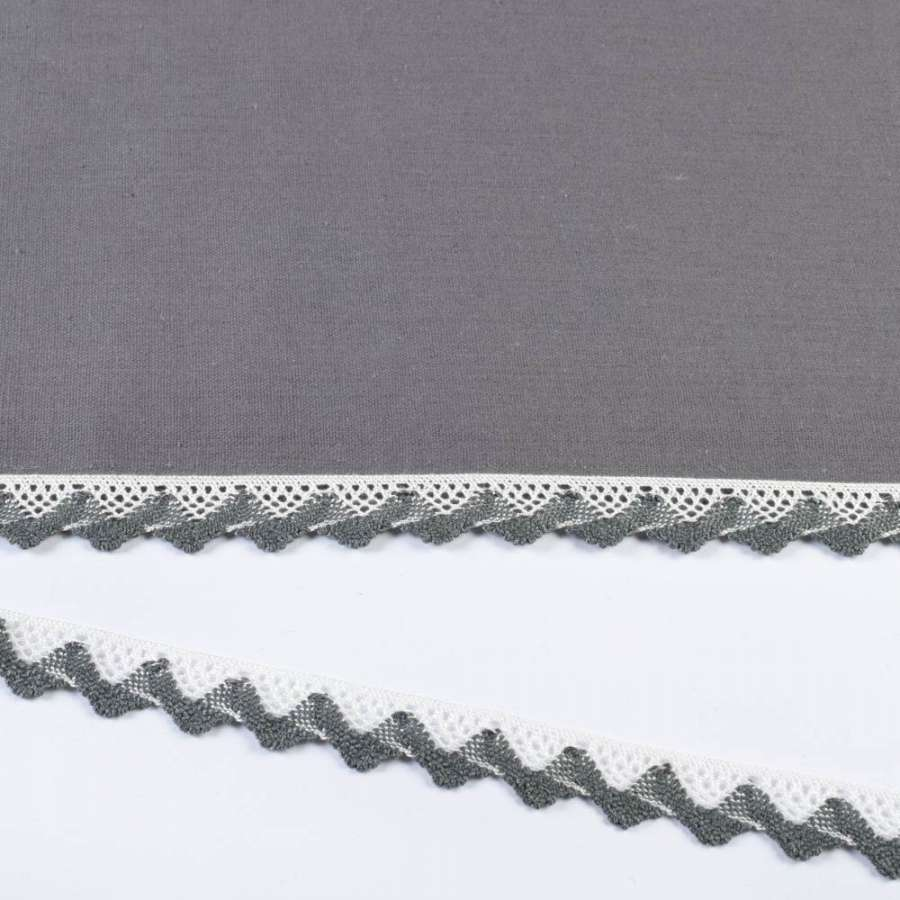 Кружево хлопок зигзаг 20мм бело-серое