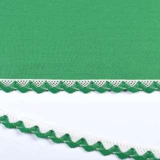 мереживо х / б біло-зелене 20мм