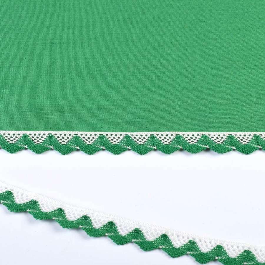кружево х/б бело-зеленое 20мм