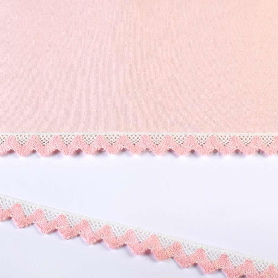 кружево х/б бело-розовое 20мм
