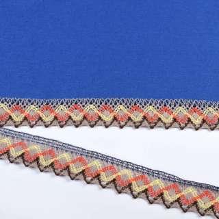 мереживо х / б сіре з помаранчевими, жовтими зигзагами 35мм