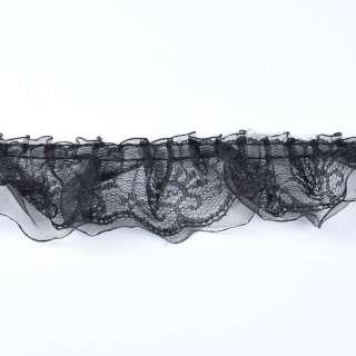 Мереживо рюш з капронової стрічкою двошарове 50мм чорне