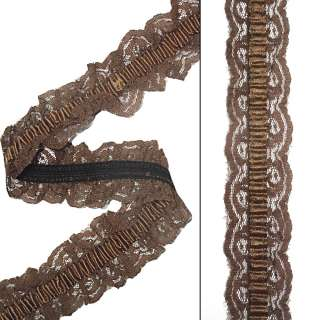 Кружево рюш на резинке с атласной лентой 40мм коричневое
