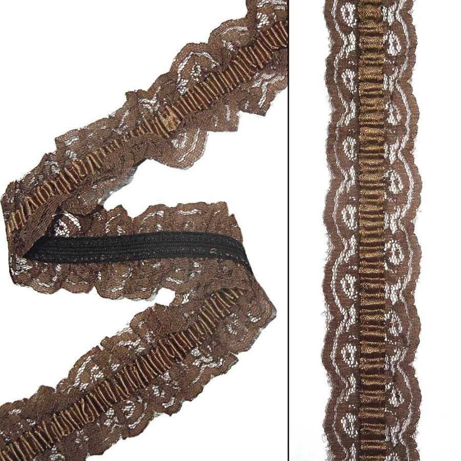 кружево коричневое на резинке с атлас. лентой ш.4см