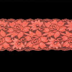 Кружево стрейч коралловое блестящее ш.10см